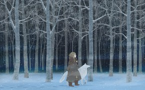 Picture winter, forest, girl, night, wolf