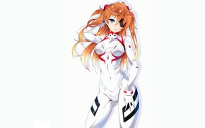 Picture girl, white, sexy, Anime, Asuka, pretty, cute, Evangelion, asuka Langley, tight suit, plug suit