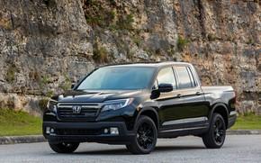 Picture black, Honda, pickup, Black Edition, Ridgeline, 2019, at the rock