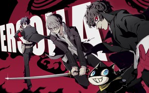 Picture cat, the game, anime, art, guys, characters, Person 5, Persona 5