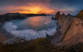 Picture sea, sunset, rocks, Bay, Spain, Spain, Liencres, The Bay of Biscay, Cantabria, Cantabria, Bay of ...