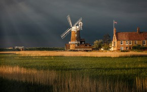 Picture field, the sky, grass, light, clouds, nature, house, glade, the building, England, flag, mill, storm, ...