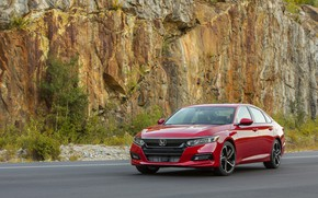 Picture red, Honda, Accord, sedan, 2018, four-door, 2.0T Sport, on the background of rocks