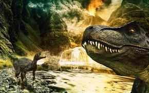 Picture Mountains, The volcano, Teeth, Face, Predator, Two, Animals, Photoshop, Raptor, T-Rex, Tyrannosaurus, Dinosaurs, Tyrannosaurus Rex, …