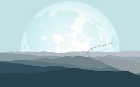 Picture Minimalism, The moon, Birds, Hills, Landscape