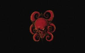 Picture Red, Minimalism, Skull, Style, Background, Octopus, Red, Art, Style, Sake, Red Skull, Background, Marvel Comics, …