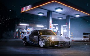 Picture Auto, Night, Machine, Japan, Mazda, Car, Art, Design, Night, RX-7, Mazda RX-7, Gas stations, Transport …