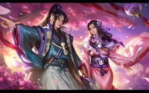 Picture mood, holiday, spring, Sakura, art, pair, 战国布武, yiqian zhang