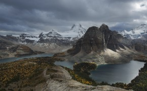 Picture snow, trees, landscape, mountains, clouds, nature, river, stones, ate, Canada, forest, Assiniboine