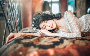 Picture girl, bed, sleep, portrait, dress, sleeping, bed, lies, Asian, the bride, closed eyes