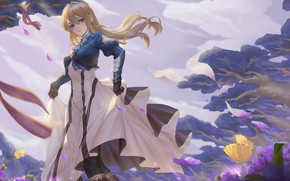 Picture girl, butterfly, flowers, tape, the wind, letters, Violet Evergarden