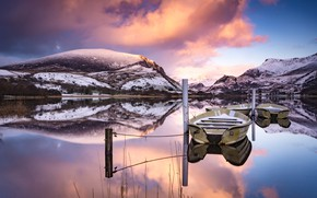 Picture winter, mountains, reflection, boat, pond