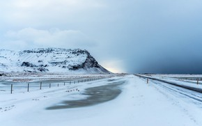 Picture road, snow, mountain