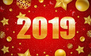 Picture stars, red, background, New year, New Year, decor, 2019