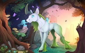 Wallpaper forest, magic, mushrooms, tale, fairy, unicorn, legend, the edge, blue nope, Bocci