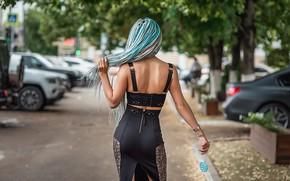 Picture dress, model, back, blue hair, A Diakov George