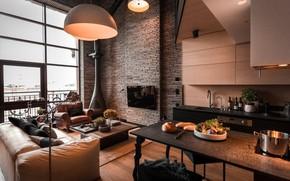 Picture interior, kitchen, fireplace, living room, New York, Manhattan Loft