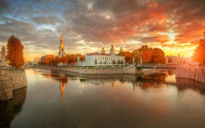 Wallpaper autumn, the sky, sunset, bridge, Saint Petersburg, channel, Gordeev Edward