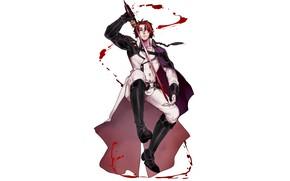 Picture blood, vampire, guy, Owari no Seraph, The last Seraphim, Crowley