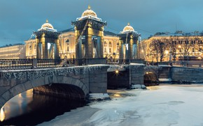 Picture winter, snow, trees, bridge, the city, lights, river, building, home, ice, Peter, Saint Petersburg, garland, …