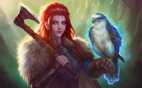 Picture Girl, Bird, Falcon, Girl, Axe, Companion, Red, Falcon, Bird, Illustration, Viking, Viking, Redhead, Characters, Characters, …