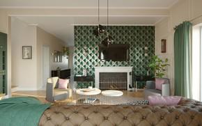 Picture design, interior, fireplace, living room, art-deco living room, by Jaroslaw Dzedzej, арт-деко стиль