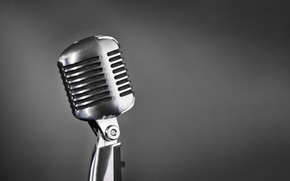 Picture retro, music, sound, microphone, singing