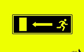Picture black, yellow, exit