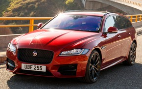Picture road, car, machine, lights, Jaguar, driver, red, front, red, side, sun glare, red car, wheel, …