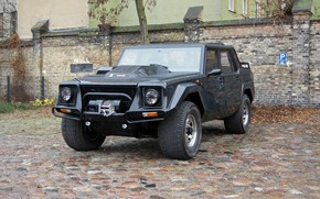 Picture car, machine, wall, Lamborghini, Parking, pickup, wheel, Lamborghini LM002, black car, LM002