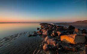 Picture sea, sunset, stones, coast