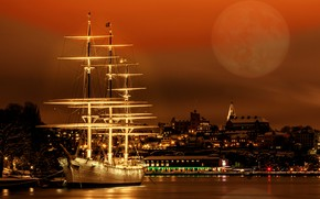 Picture night, ship, sailboat, Museum, Stockholm