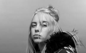 Picture black & white, blonde, singer, singer, black and white, Billie Eilish, Billy Iles