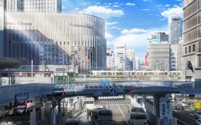 Picture machine, the city, building, train, bus