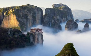 Picture landscape, nature, mountains, clouds, rocks, architecture, building, Greece, mist, roof, monastery, Meteora