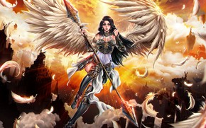 Picture girl, angel, feathers, warrior
