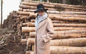 Picture look, girl, hat, coat, logs, Kseniya Kokoreva, Igor Eden