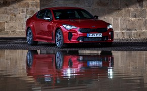 Picture red, reflection, Kia, the five-door, Stinger, Stinger GT, fastback
