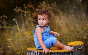 Picture look, nature, stump, baby, grass, child, The Podkovyrov Constantine