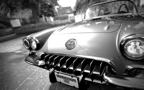 Picture Car, Classic, Old, Retro, BW CG