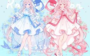 Picture girls, anime, blue dress, pink dress
