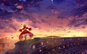 Picture the sky, girl, sunset, Fate / Grand Order, The destiny of a great campaign