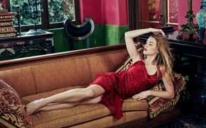 Picture look, girl, pose, sofa, dress, the temptation, Amber Heard