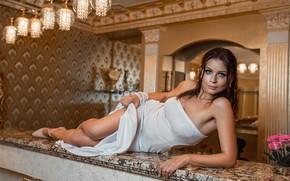 Picture legs, brunette, pose, white dress, heels, A Diakov George