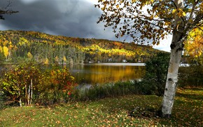 Picture autumn, forest, landscape, clouds, nature, lake, tree, hills, Canada, birch, Bank, QC