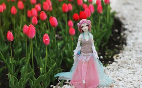 Picture toy, doll, tulips