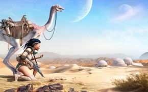 Picture girl, mountains, weapons, animal, desert, being, Planet