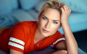 Wallpaper eyes, look, Girl, blonde, Lods Franck