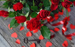 Picture roses, bouquet, hearts, vase, key