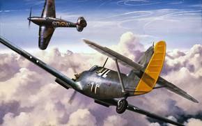 Picture war, art, airplane, aviation, ww2, hawker hurricane, messerschmitt bf 109